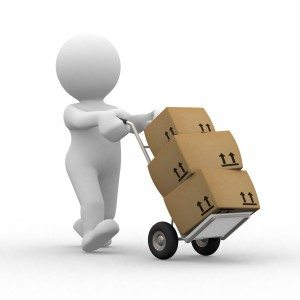 3d human that transport some boxes